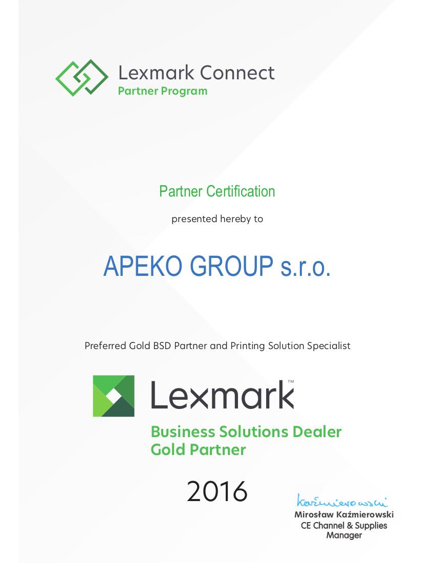 Certifications   APEKO GROUP s r o